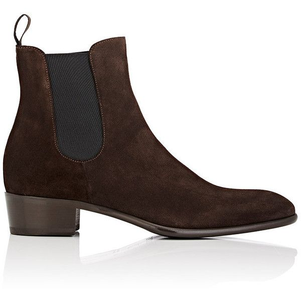 Doucal's Men's Suede Chelsea Boots ($480) ❤ liked on Polyvore featuring men's fashion, men's shoes, men's boots, brown, mens suede slip on shoes, mens brown shoes, mens boots, mens brown suede shoes and mens leather sole shoes