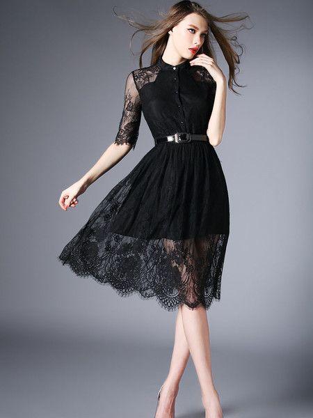 See-through Paneled Silk/Lace Midi Dress