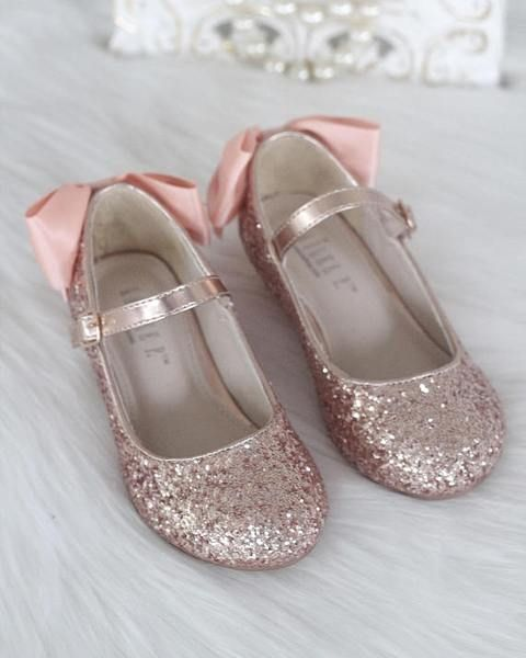 f774c430792 ROSE GOLD Rock Glitter Maryjane Heels With Satin Bow in 2019 ...