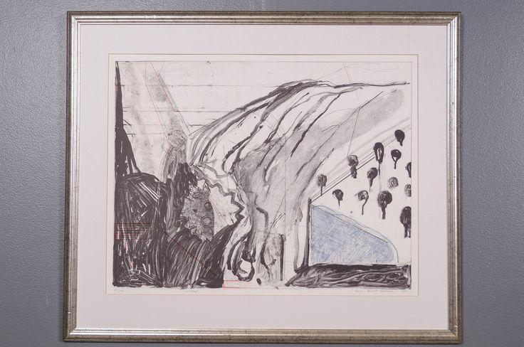 Jan Kenneth Weckman: Maisema, 1989, litografia, 50x65 cm, edition 55/100 -  Huutokauppa Helander 04/2015