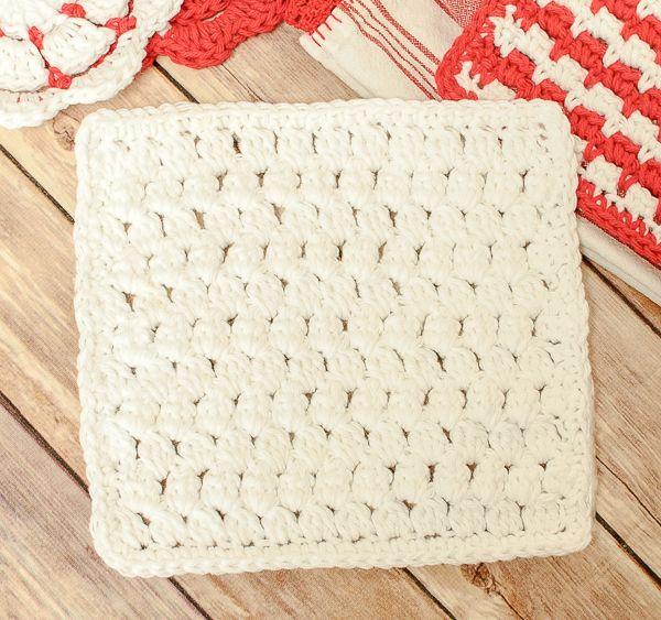 Cluster Stitch Crochet Dishcloth ~ free pattern