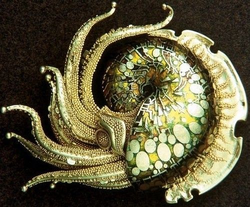 """Born in 1918 in Huntington, Pennsylvania. John Paul Miller revived the ancient technique of """"granulation"""" — embellishing a gold surface with infinitesimal spheres of gold — and brought it to the highest degree of refinement in his work, which draws much of its inspiration from crustacean and other animal forms."""