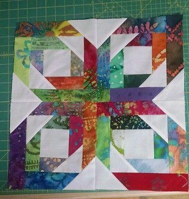 Batik-and-white-pineapple-blossom-quilt-block