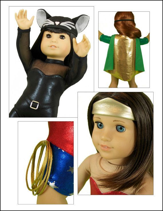 """Make amazing comic book superhero (and super villain) costumes for 18"""" / American Girl dolls using Lee & Pearl Pattern 1054: Superheroes! Costumes and Accessories for 18 Inch Dolls, available in the Lee & Pearl Etsy shop at https://www.etsy.com/listing/237005109/lp-1054-superheroes-costumes-and"""