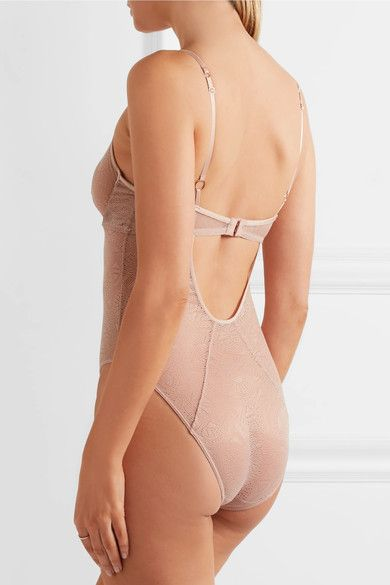 Elle Macpherson Body - Skin Cutout Stretch-lace Bodysuit - Neutral - x large