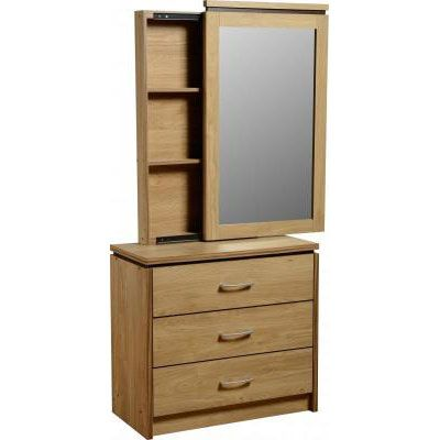 Carlo 3 Drawer Dressing Table + Mirror With Back Storage + Stool