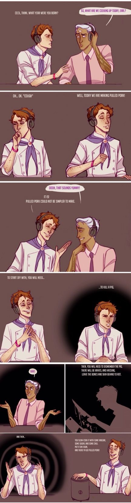 Welcome to Night Vale episode 61 - BRINY DEPTHS cooking segment with Earl Harlan and Cecil Palmer comic by videntefernandez on Tumblr