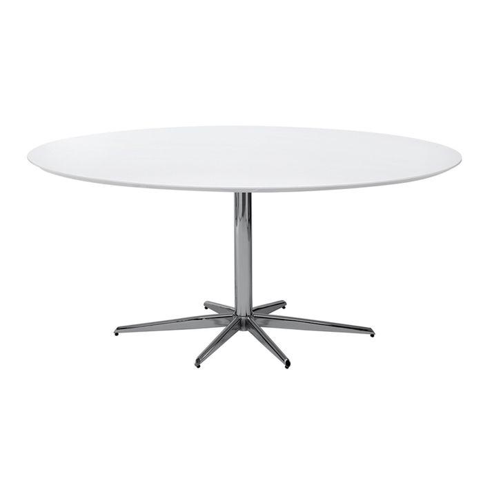Stellar base gloss dining table white large