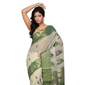 Off White and Green Cotton and Silk Tant Handloom Saree with Blouse