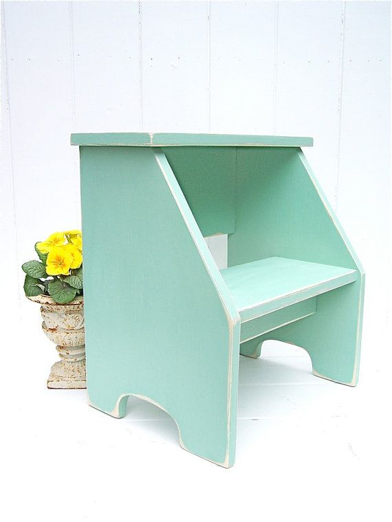 Vintage Style Two Step Stool in Jadite Handmade by CircleCreekHome, $54.00