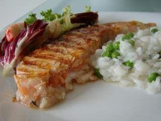 Salmão Grelhado marinado em Gengibre, Laranja e Mel, Foto 3