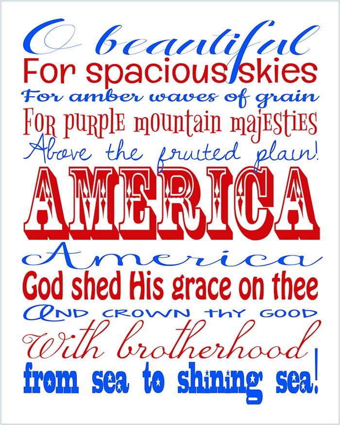 It is an image of Mesmerizing America the Beautiful Lyrics Printable