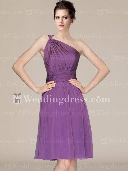 Short Chiffon One-Shoulder Maids Dresses BR201-$99.00-See more detail here:  www.inweddingdress.com/style-br201.html