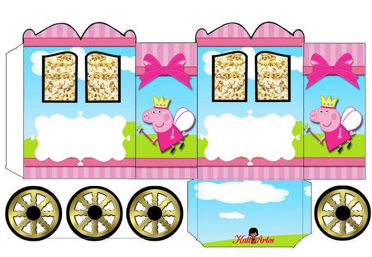 Peppa Pig Hada: Caja con forma de Carruaje para Imprimir Gratis.   Ideas y material gratis para fiestas y celebraciones Oh My Fiesta!