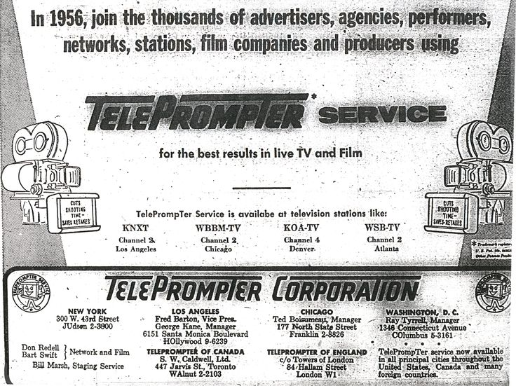 1956 teleprompter tv tech history timeline #trade #ad #advertisement