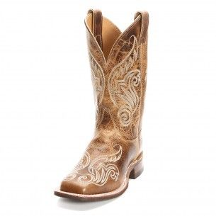 Justin Bent Rail Women's Square Toe Tan Scroll Cowgirl Boots