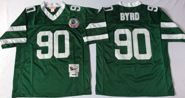 New York Jets #90 Dennis Byrd Green Throwback Jersey