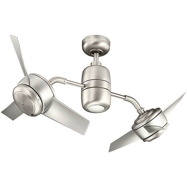 Kichler lighting yuree brushed nickel downrod mount indoor outdoor ceiling fan with light kit