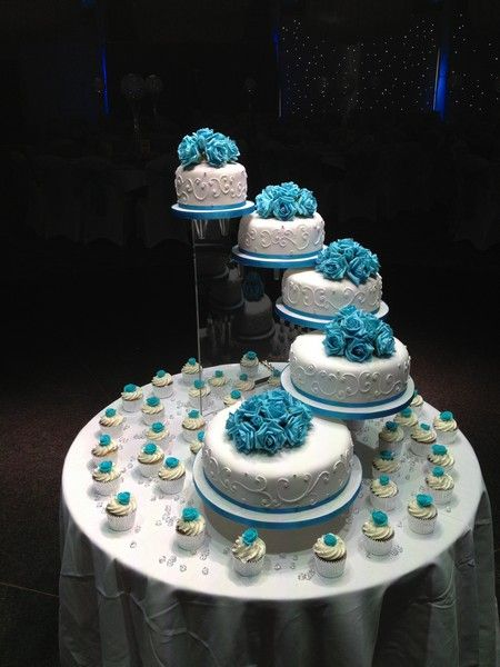 turqoise-wedding-cake-spirak-and-cupcakes-with-flowers.jpg 450×600 pixels