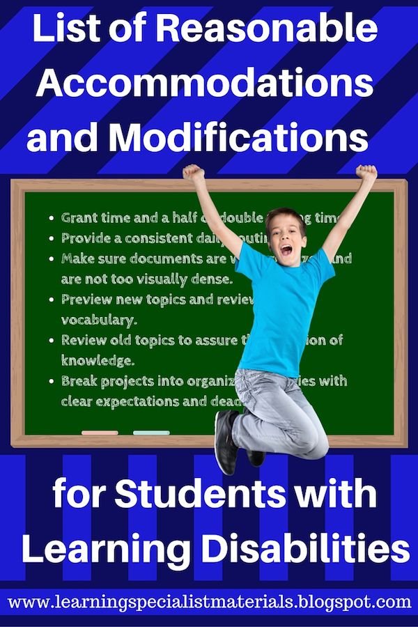 Learning Specialist and Teacher Materials - Good Sensory Learning: List of Reasonable Accommodations and Modifications for Students with Learning Disabilities