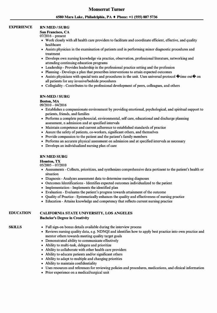Telemetry Nurse Job Description Resume Fresh Med Surg
