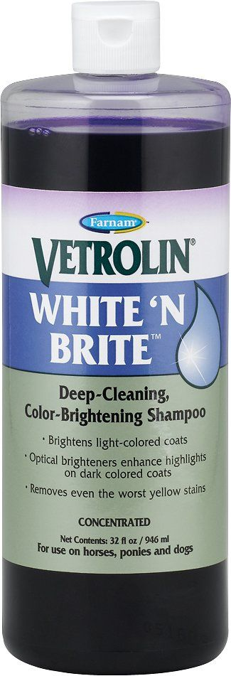 Bring out the best in your horses coat with Farnam Vetrolin White N' Brite Horse Shampoo. This deep-cleaning, color brightening shampoo is developed with optical brighteners that reflect light off the hair and accentuate the coat's radiance. This shampoo adds incredible brilliance to coats, manes and tails for a lustrous shine your horse deserves. The coconut oil derivatives moisturize and increase absorption of brightening agents, leaving the coat soft and polished. This shampoo also...