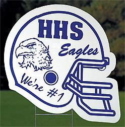 The Helmet Personalized Yard Sign features a football helmet shape with your school's mascot and name in your choice of colors.