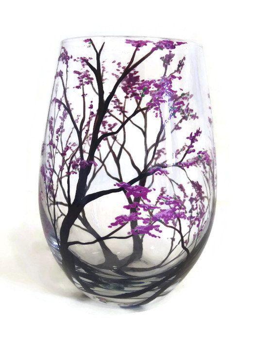 Wine Glasses Handpainted Spring Flowering Tree Branches Pink Purple Lilac Dogwood Beautiful Artistic Gift Housewarming Wedding Birthday