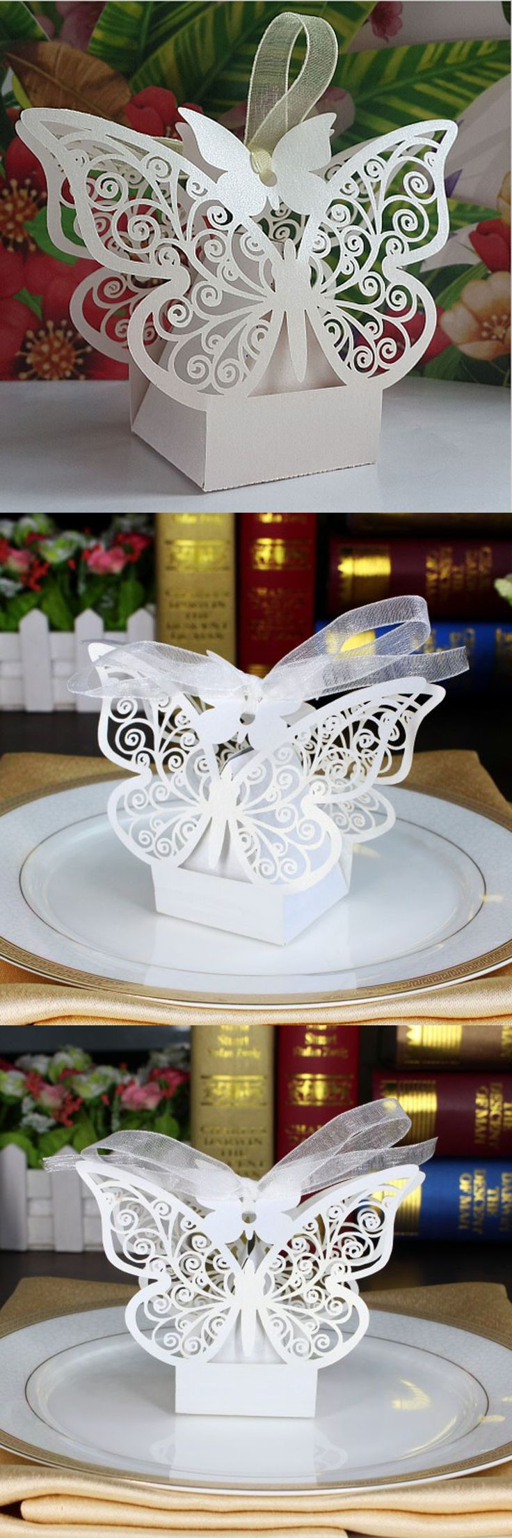 50pcs White Butterfly Wedding Favor Box Candy Box,Wedding Favors And Gifts,Wedding Supplies,Wedding Box For Candy,Paper Box