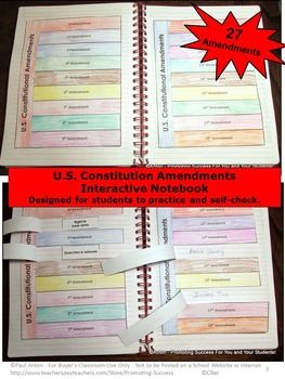 Constitution Amendments Interactive Notebook - In this printable U.S. Constitutional Amendments activity packet, students will color and cut out three lift the flap pages with nine constitutional amendments on each page. A separate word bank is also available for easy differentiation. Students read the amendment number on the flap and write (or paste) the correct, matching amendment summary underneath the flap.