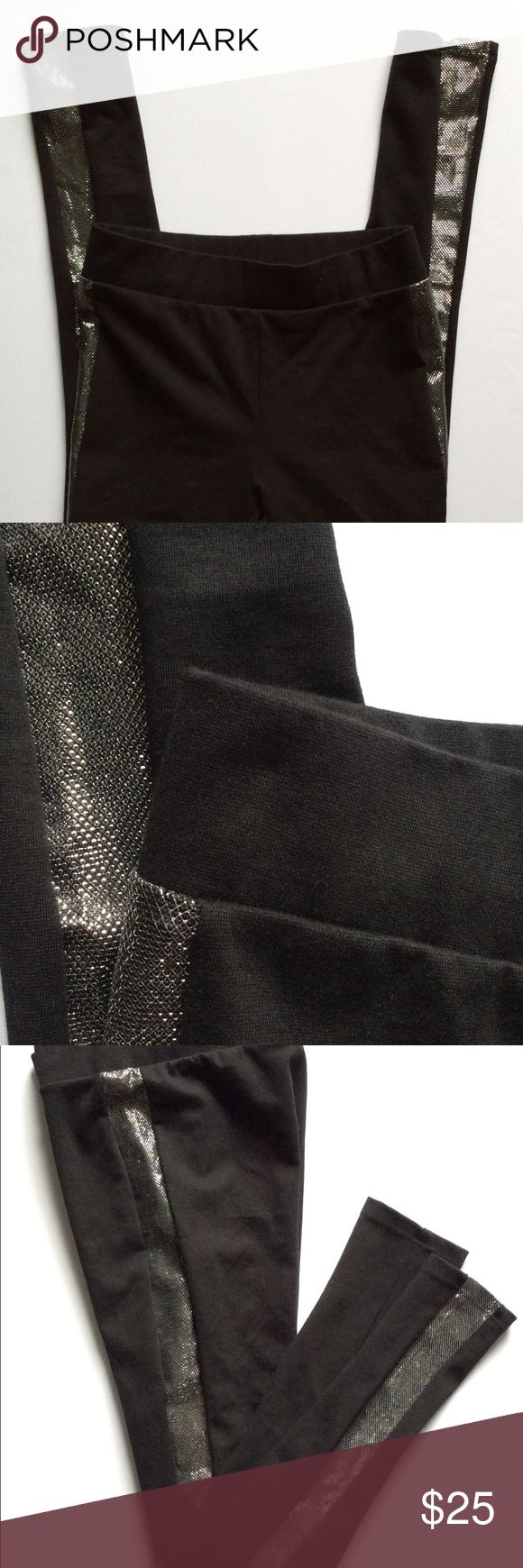 """Nine West Metallic Tuxedo Side Stripe Leggings You'll sparkle for days in these comfy and stylish leggings!  Pair with a cute crop top or a tunic for more coverage. A pair of fabulous booties could easily complete the look.  Please ask for measurements if necessary. The leggings are best suited for ladies up to 5'3"""" and 135 lbs. based on the measurement chart on the packaging. Nine West Pants Leggings"""