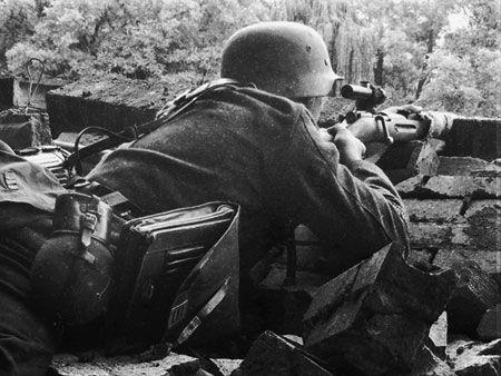 Finnish Sniper aiming his Mosing Nagant.