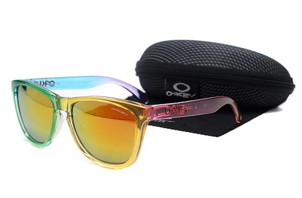 $10.99 Hot Season Oakley Frogskins Sunglasses Rainbow Frame Orange Lens US Outlet www.oakleysunglassescheapdeals.com