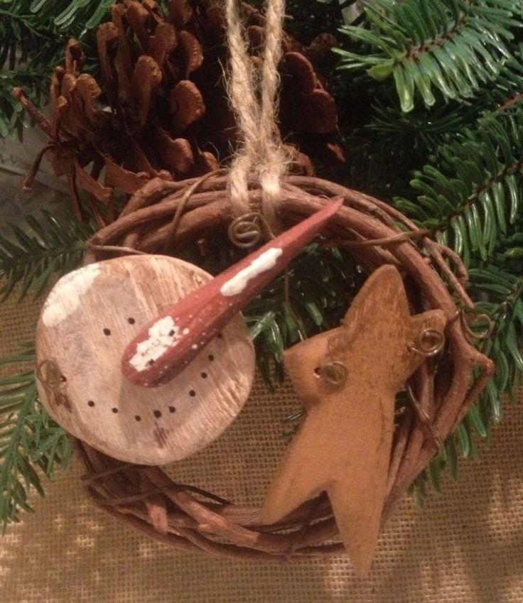 Primitive Snowman Star Grapevine Wreath Ornament Garland Christmas Rusty Wire #Primitive #Handmade