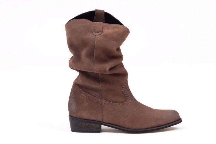Botas cómodas piel camperas arrugadas color marrón taupe -  taupe brown leather wrinkled boots super comfort miMaO