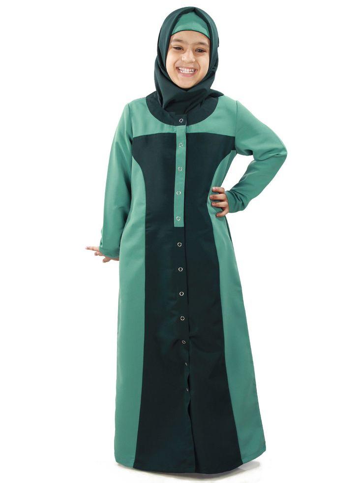 Dubai Kids Abaya Islamic Girls Burqa Muslim Dress Kaftan Maxi Hijab | Ay-369-K