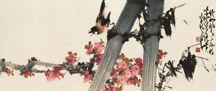 Zhao Shao Ang (1905-1998) Bird On Bamboo 1978 (40,4 x 96 cm)
