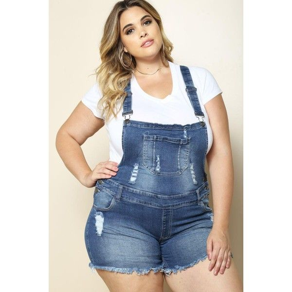RITA PLUS SIZE DENIM SHORTALLS ($25) ❤ liked on Polyvore featuring short overalls
