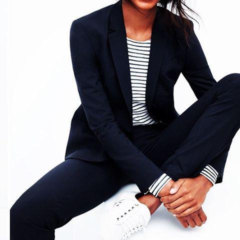Suit + stripes + sneakers // Säker stil #SakerStil @sakerstil Instagram photos | Websta