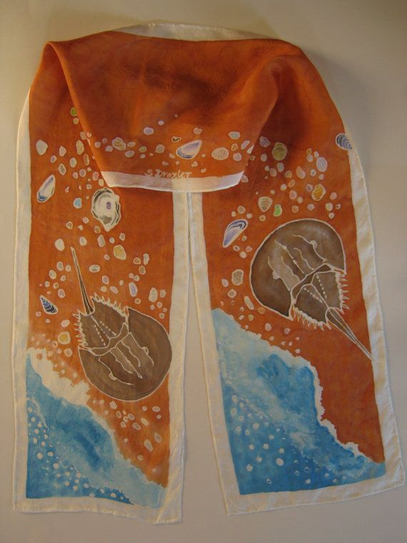 Hand Painted Silk Scarf Horseshoe Crab on Beach by NatureSeenSilks, $50.00: Inspiration Artworks, Hands Paintings, Crafts Ideas, Horseshoes Crabs, Fav Stuff, Painted Silk Scarves, Scarfs Horseshoes, Paintings Silk Scarves, Beaches Art