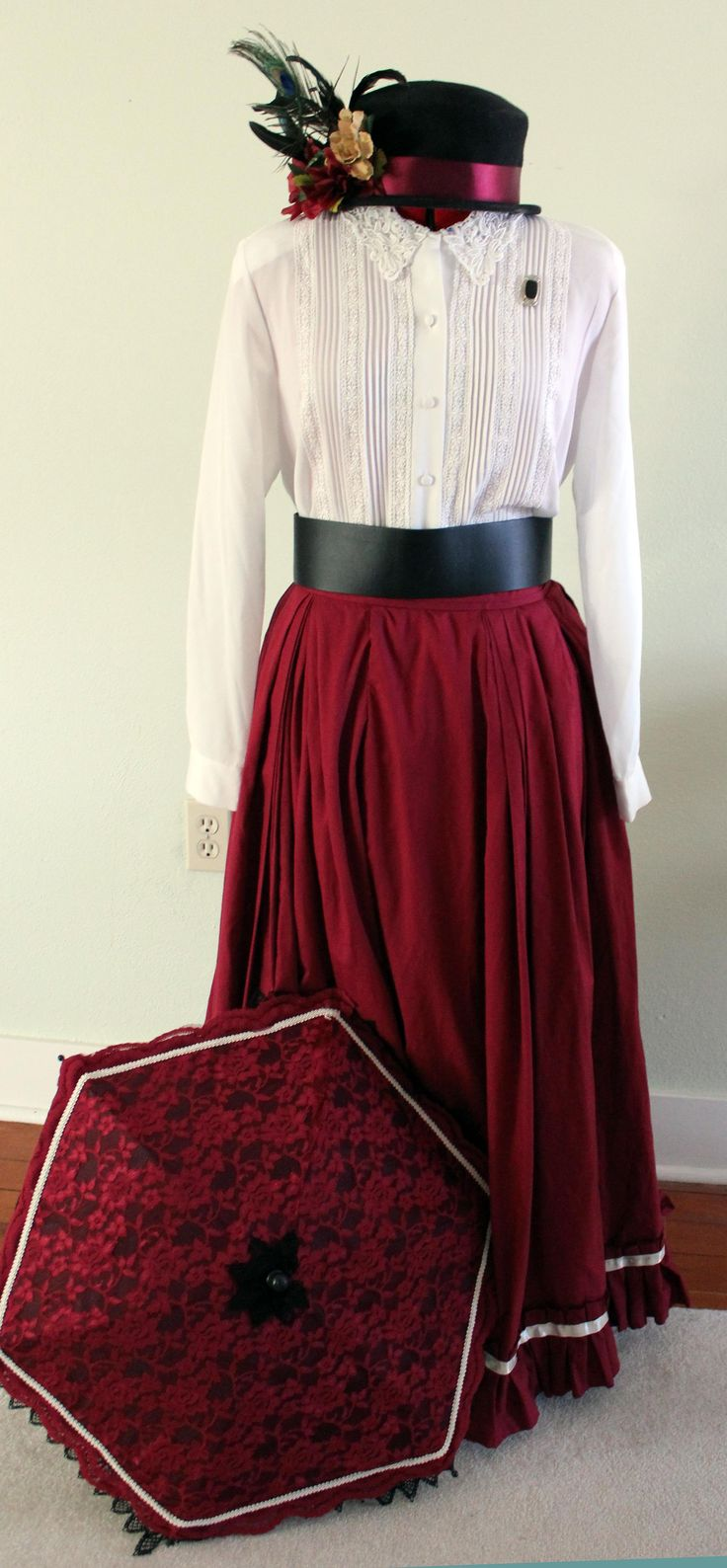 How to make an easy women's Victorian costume dress with items in your closet.Using a full skirt, blouse, belt and accessories you will look Victorian in no time.