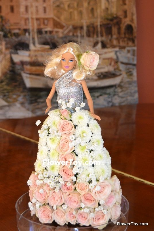 FlowerToy Barbie Doll made from fresh flowers.