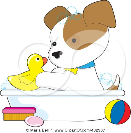 Royalty-Free (RF) Clipart Illustration of a Cute Puppy Playing With A Rubber Duck In A Bath Tub by Maria Bell