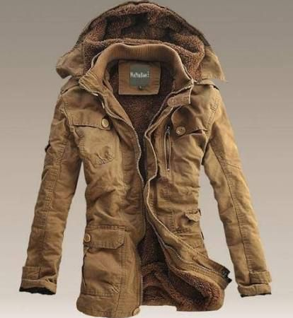 Mens Winter Fur Lined Hooded Parka Trench Long Warm Casual Coat