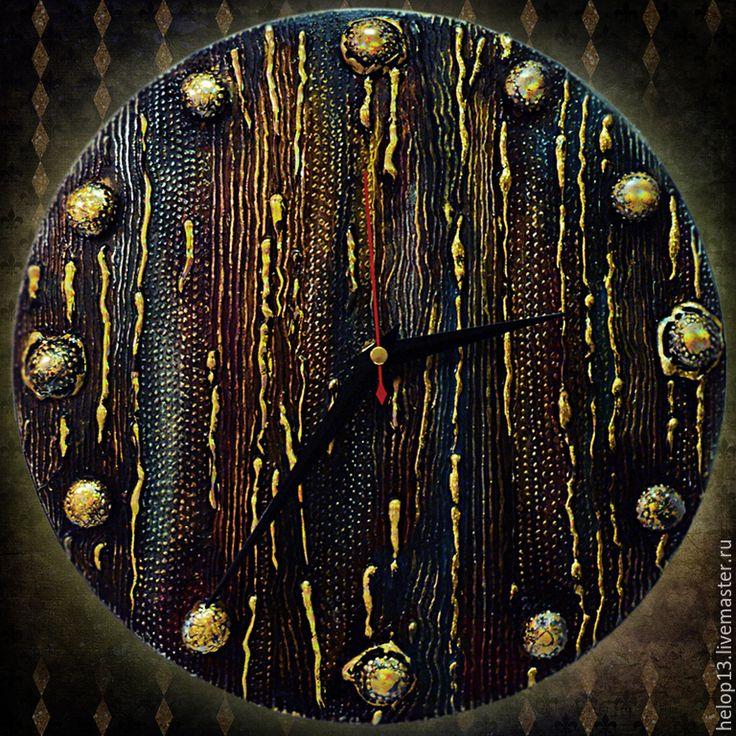 """Купить Часы настенные """"MAGESTIC"""" - часы настенные, часы, часы интерьерные, таинственный, золотые капли"""