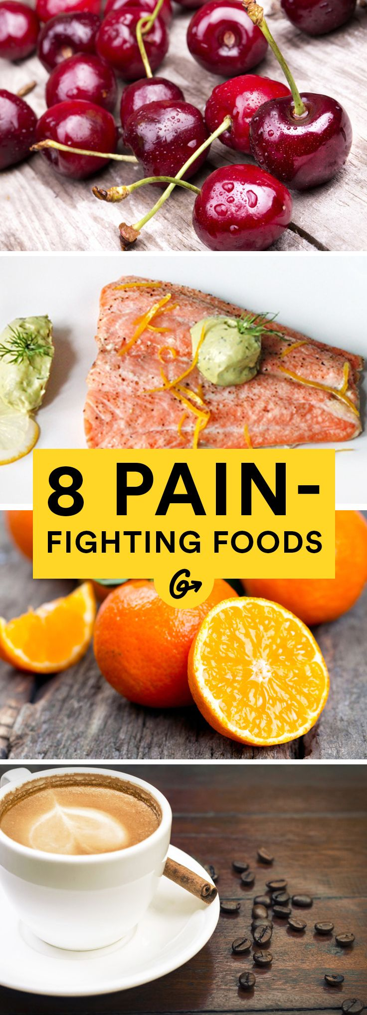 Greatist has compiled a list of everyday foods that fight pain. #pain #fighting #foods http://greatist.com/health/foods-pain-relief
