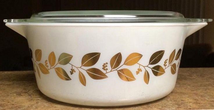 RARE Vintage Pyrex Gilded Vine 2.5 Qt 475 Casserole White/Gold HTF