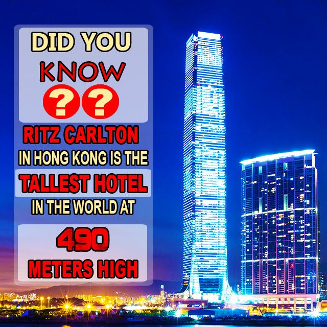 #Didyouknow that the tallest #hotel in the world opened its doors in #HongKong? The #RitzCarlton opened in March 2011 and reaches a massive 1600 feet (490 meters or 118 stories) into the air! At the moment it is the 4th largest building in the world #FunFact @EasyToBook