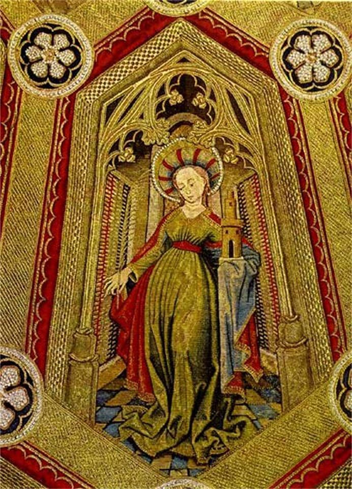 Considered by many to be the most beautiful piece of ecclesiatical goldwork embroidery ever created, this detail is from the Mantle of the Vestments of the Order of the Golden Fleece and is worked in the Or Nué goldwork technique. This mantle was made sometime between 1425 and 1450.  Click on the photo to see what the whole mantle looks like. The mantle is in the collection of the Imperial Treasury, Vienna at…