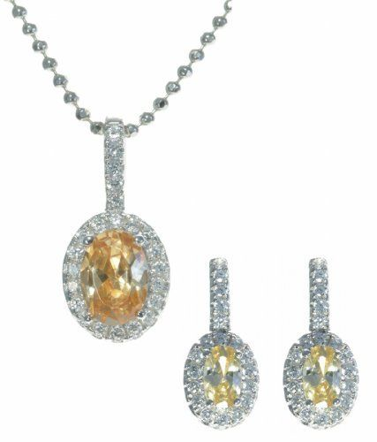 925 Sterling Silver Women Earrings + Pendant with Cubic Zirconia/CZ - 46cm*17mm*8mm Argenti di Lusso. $74.79